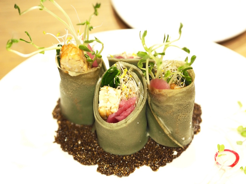 Matcha Buckwheat Crepes, filled with crispy tempeh, veggies & soy mayo.