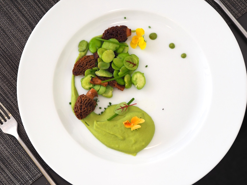 Main: Fouilles sautées au beurre végétal et Chantilly de fèves. (Wild mushrooms with fava bean Chantilly cream)