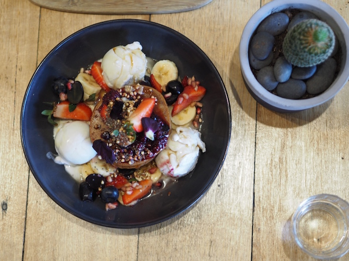 Buckwheat Vanilla Pancakes, with fresh fruit, pure maple syrup & coconut ice-cream.