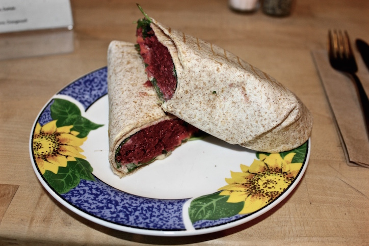 Beetroot falafel wrap at Goodies