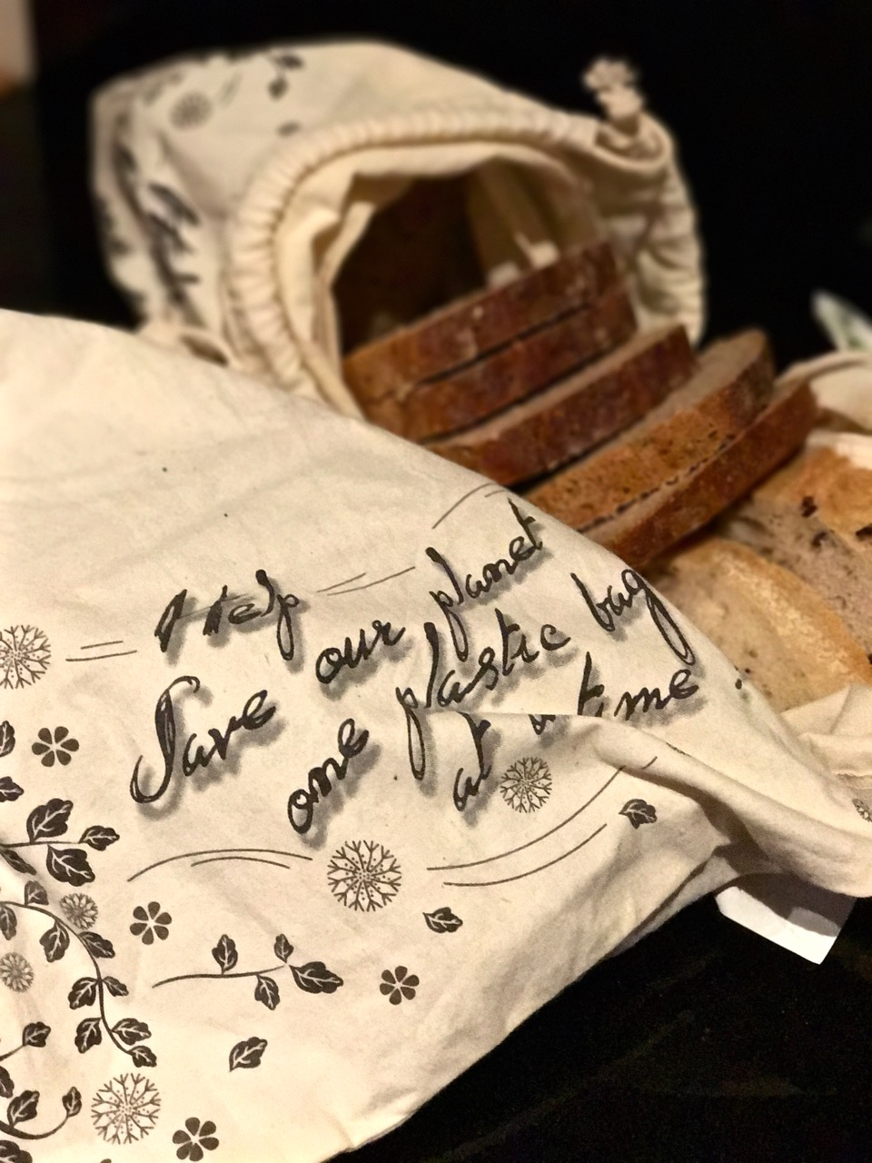 Our weekly bread shop, packed in cloth produce bags  (these are from The Enviro Shop in Northcote, Melbourne, and are made with organic cotton).