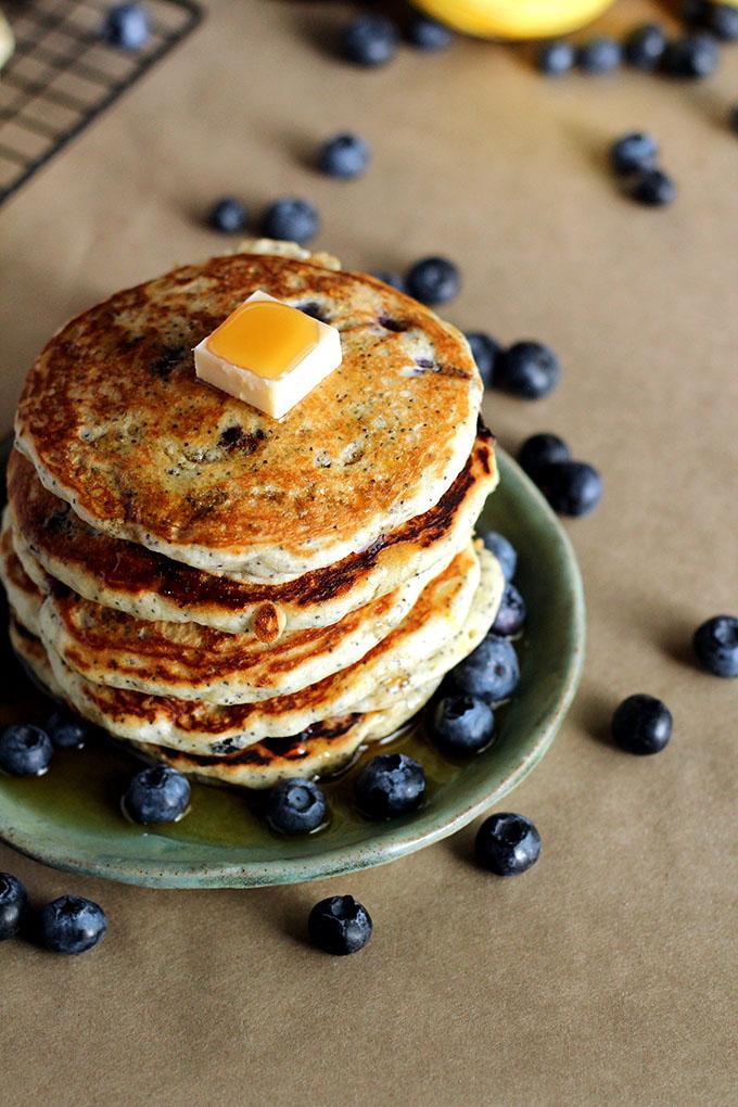 1: Lemon Poppy Seed Blueberry Pancakes - I love Vegan