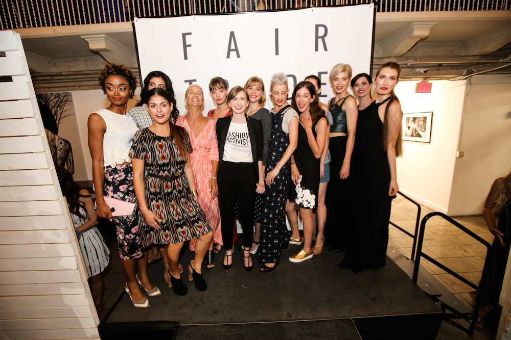 Some of the Fair Trade Fashion Show runway models + Sica Schmitz. Image by Bryan Flores Jr.