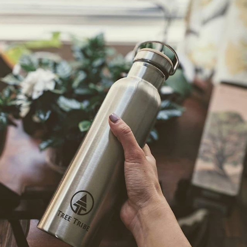 Tree Tribe - Seriously durable drink bottles (they even come with a lifetime guarantee). Made from double layered stainless steel and bamboo/silicone lid. No plastic!Tree Tribe plant 10 trees for every sale, and they also make eco sunglasses, activewear and accessories from real leaves.(image credit @veganintransition)Use code