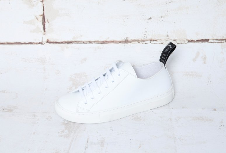 Vegan leather white sneakers by vegan shoe brand Good Guys Don't Wear Leather
