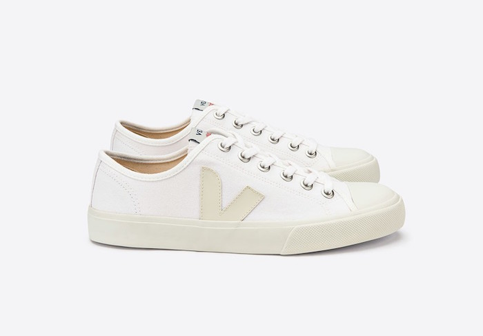 Sustainable, eco-friendly white sneakers by Veja. Made from vegan friendly materials.