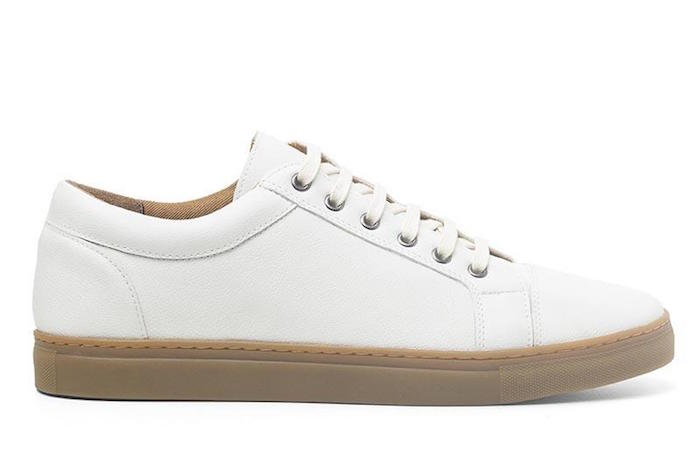 Non-leather white sneaker shoes by vegan footwear brand Ahimsa