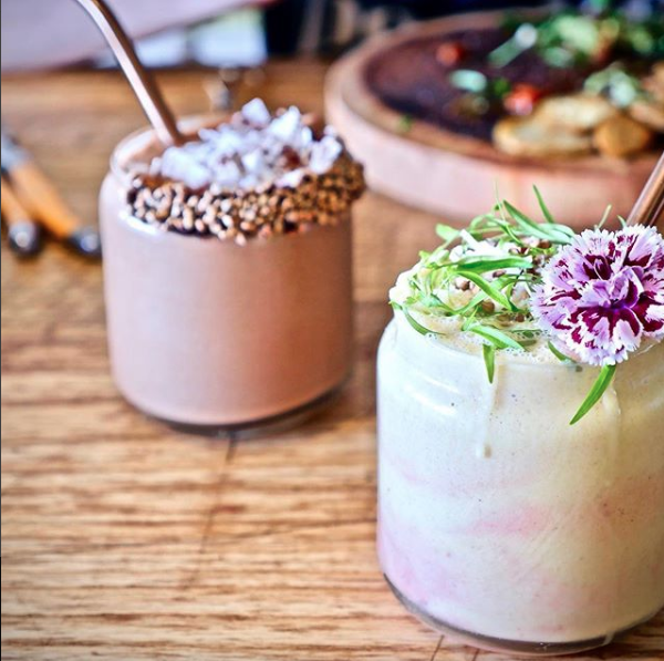 Healthy, vegan smoothies at Particle Cafe, who have a fully plant-based and gluten-free menu.