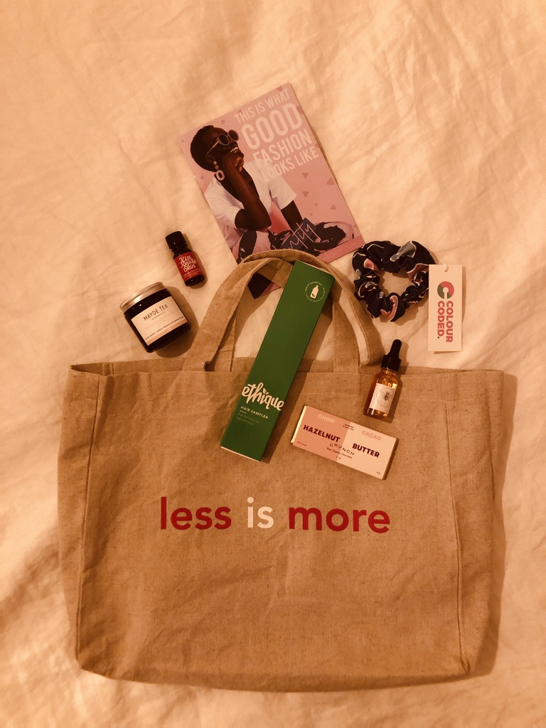 "We loved that instead of plastic goody bags filled with plastic wrapped trinkets, as is often the case at runways, these goodie bags were made from hemp, emblazoned with ""LESS IS MORE"" and filled with thoughtful products from more socially and eco aware brands. - (Like MAYDE tea, a Byron Bay based tea brand who package in glass jars with steel lids, scrunchies made by Colour Coded from deadstock fabric + shampoo/conditioner bars from one of my favourite plastic free beauty companies, Ethique.)Isn't this how all goodie bags should be? Full of good things which are thoughtful?"