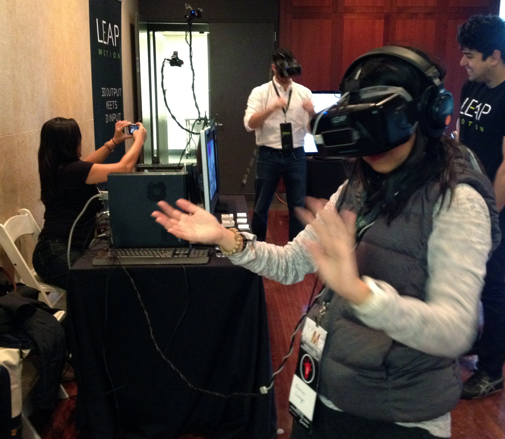 Laurie Sumiye gives Leap Motion a go. NYME Conference NY, NY 2015