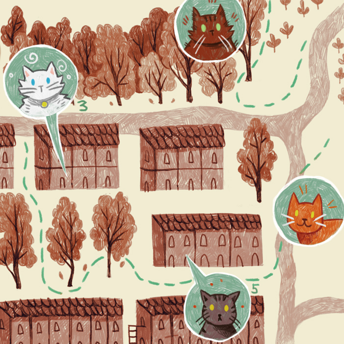 Cat Map - Editorial — Ingrid Skåre Illustration Cat Map on