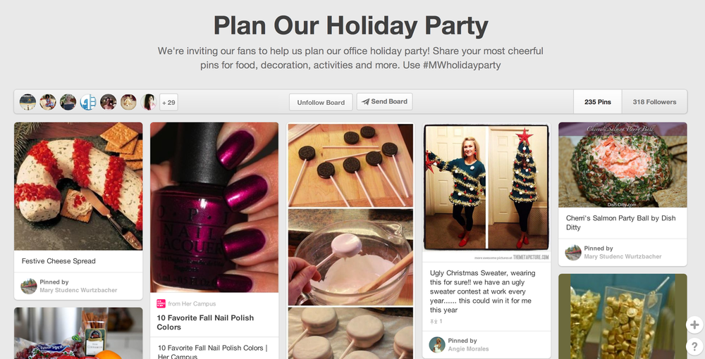 Pinterest: Plan Our Holiday Party