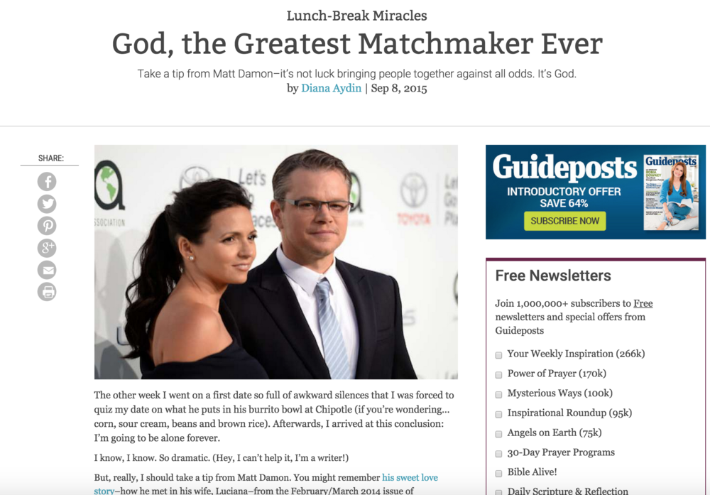 God, the Greatest Matchmaker Ever