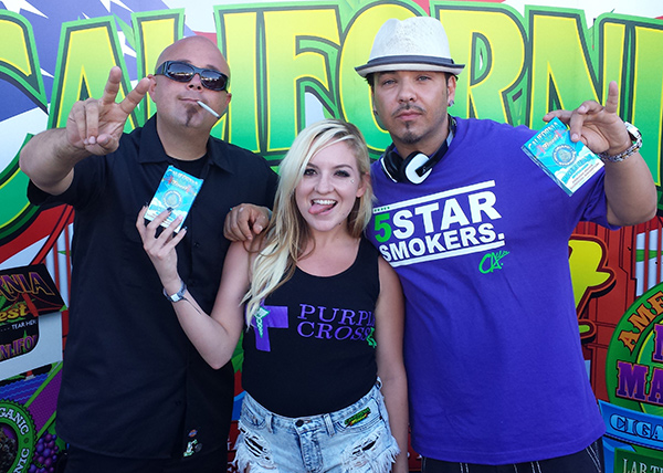 Gil from WeedMaps (left), Audrey from Purple Cross ( center) and Baby Bash (Right)