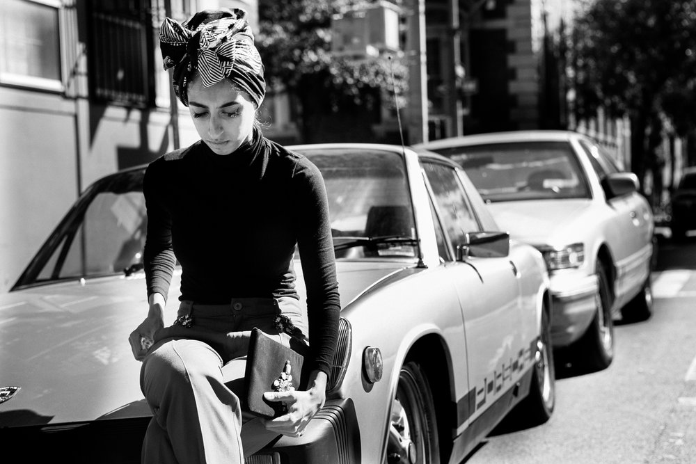 NYC modest fashion | vintage car Soho