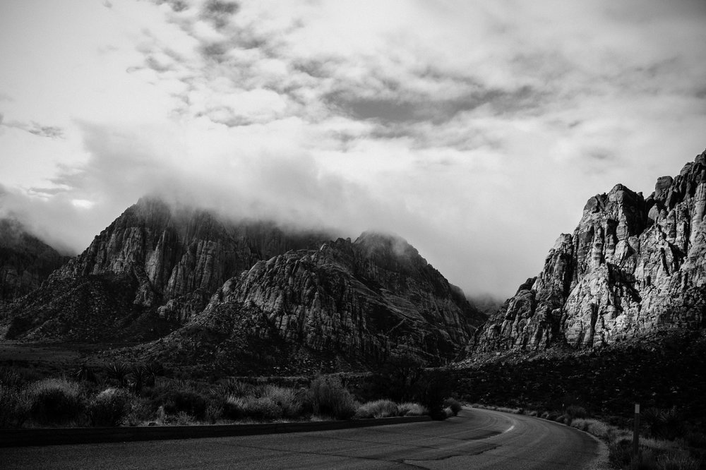 black and white photo Red Rock Canyon drive