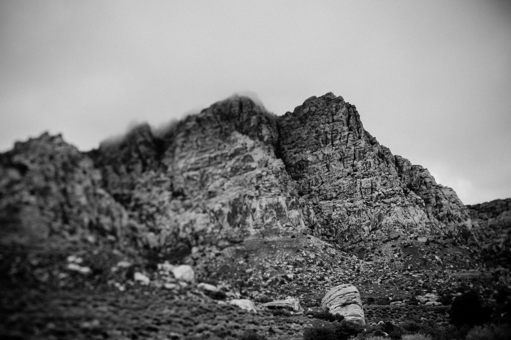 black and white photo Red Rock Canyon mountains fog tilt-shift