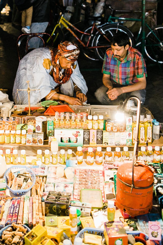 Morocco Marrakech night street vendor