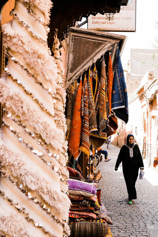 vintage Moroccan carpet shop Marrakech street