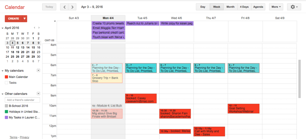 Using Google Calendar to plan my day with a recurring appointment