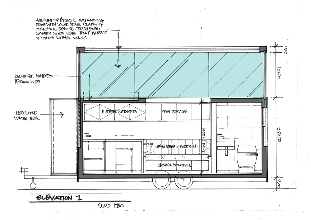 SKETCH ELEVATION OF KITCHEN WALL