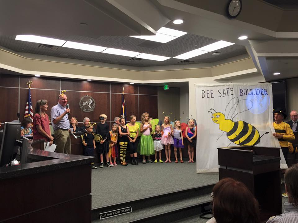 Friends of Bee Safe Boulder take part in the boulder city council meeting on september 1st as Council Person Tim Plass announces the City of Boulder's Pollinator protection Month
