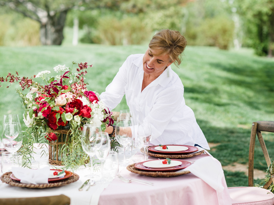 Ria Erikson lovingly composes a compote for a stylish afternoon fête.   DeFiore Photography  .