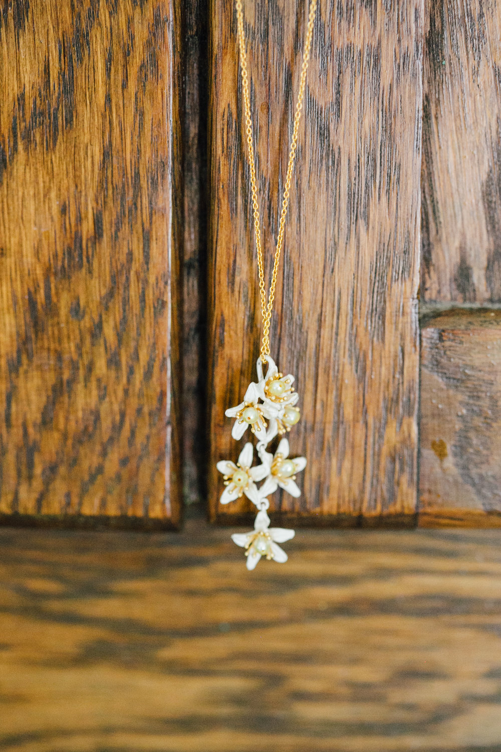 Bride's White Flower Necklace Little Thompson Valley Pioneer Museum Berthoud Colorado Wedding