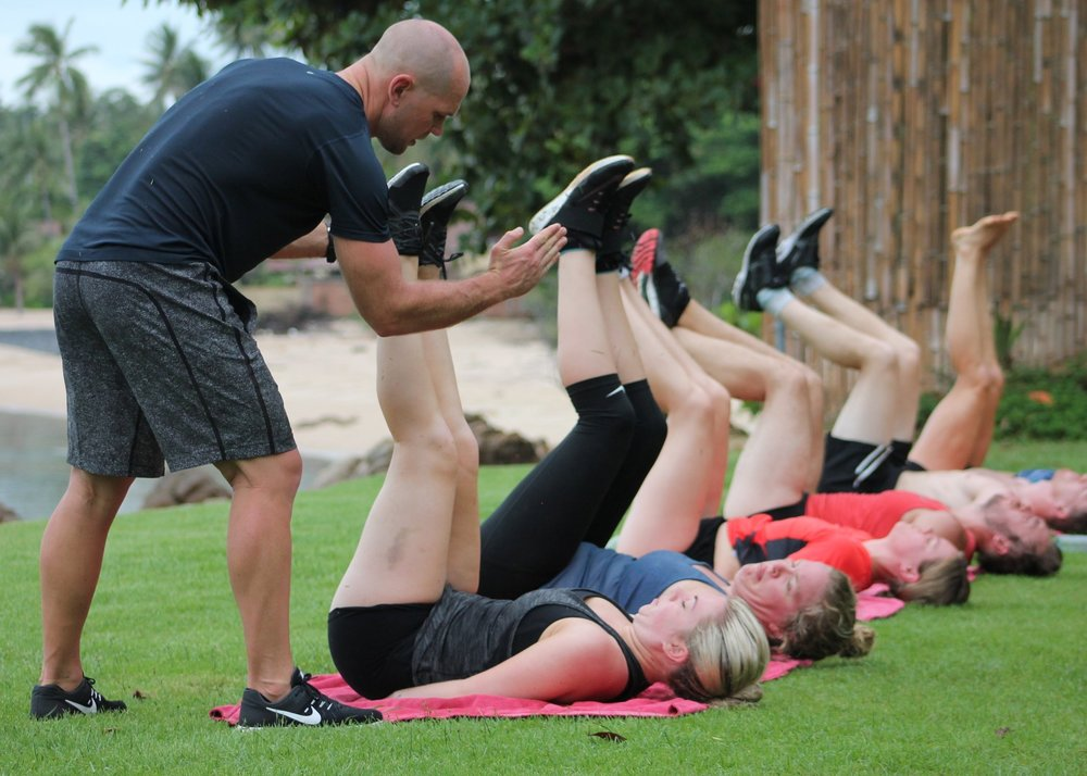 Coach Rhys stretch and conditioning - Crave Thailand Retreat