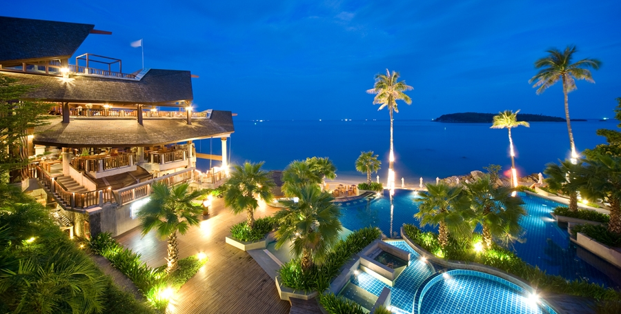 Nora Buri Resort at night - Crave Thailand Retreat