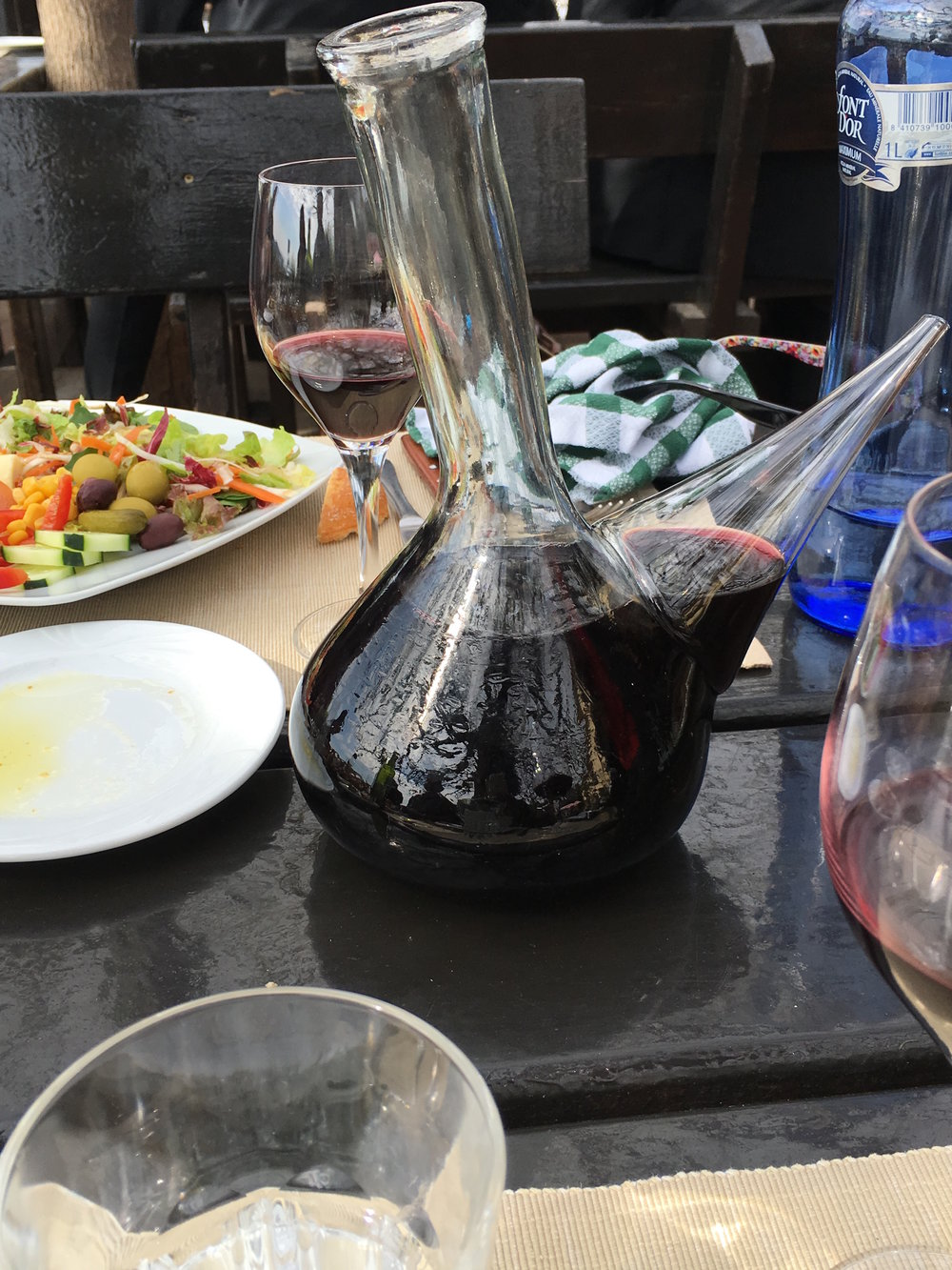 Red wine with lunch during my Barcelona Area wine and food tour