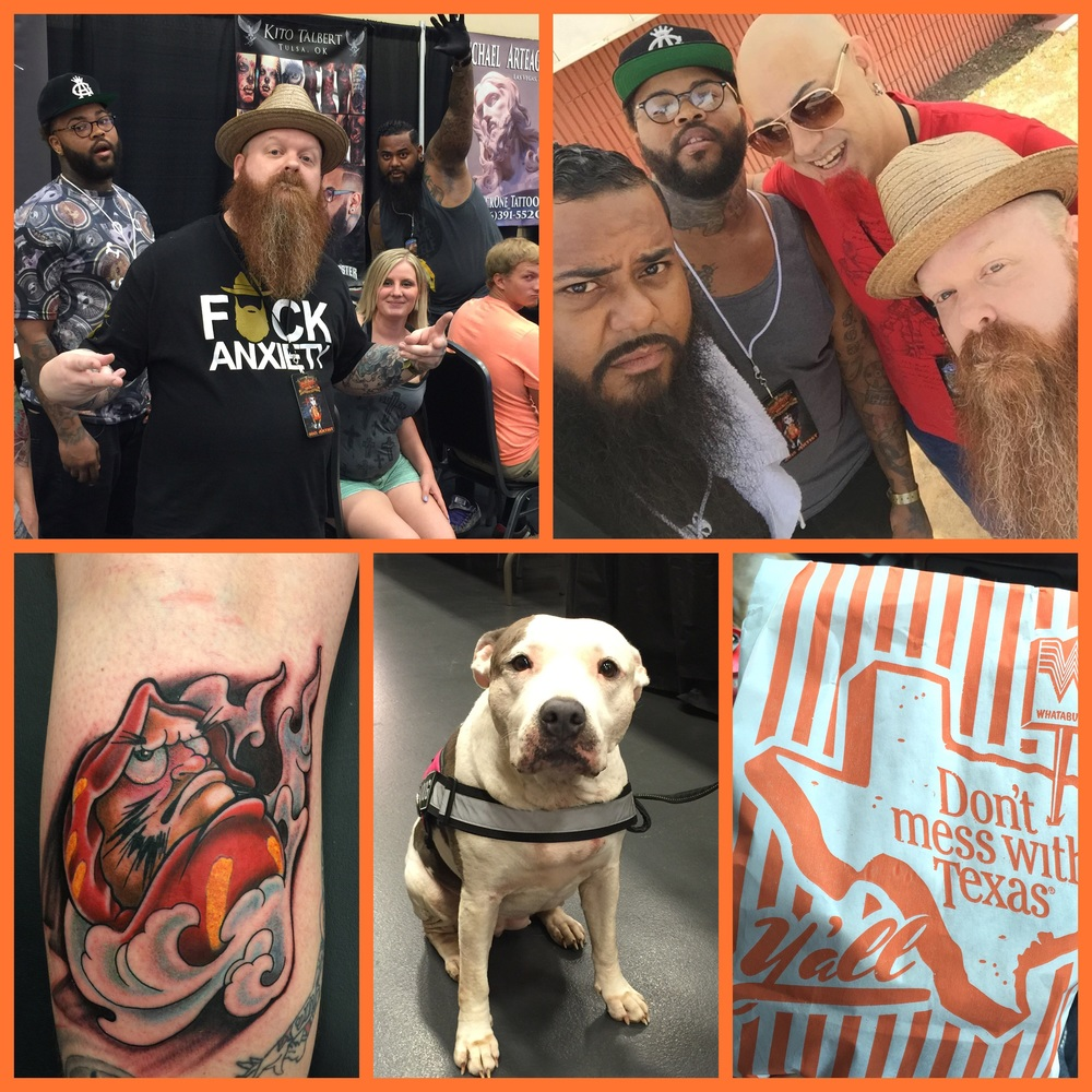 It's true. I messed with Texas. Ya'll. Nothing but fun times at the Ink Life Tour tattoo convention. Maude Cobb Convention & Activity Center in Longview, Texas was the hosting event center this year. There was a whole slu of activities on hand. Not only could you take home a new tattoo but there was a dog rescue in there. Puppies!  Bands included Misfits, Puddle of Mudd and Saving Abel.  I got the opportunity to share a booth with my friends Kito from Inkmaster Season 6. My bro Jiggy and Dallas artist Sparticus. I watched Sparticus from Artistic Encounters tattoo a killer portrait of Charles Manson on his own Mother. I believe Now, I have officially seen it all. Lol. I want to thank all the fans, friends, fellow tattooers and all the people that treated me so well. I can't wait to come back next year and tattoo Ya'll again.