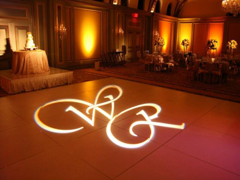 Custom Projection - Why not have a custom gobo projection made for the bride and groom. This is a great feature at a wedding or any event, adding gravitas and a measure of sensory awe to the event.