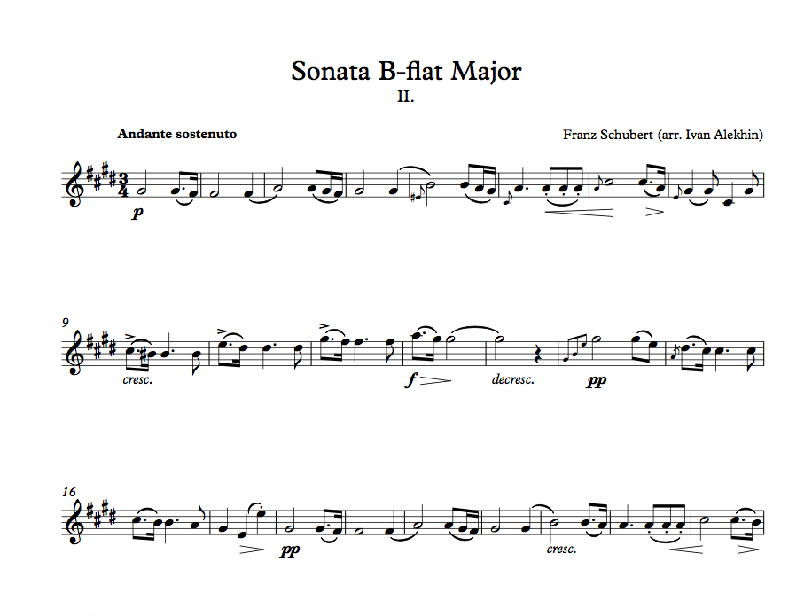 F. Schubert. Sonata in B-flat Major. Movement 2 (click to download)