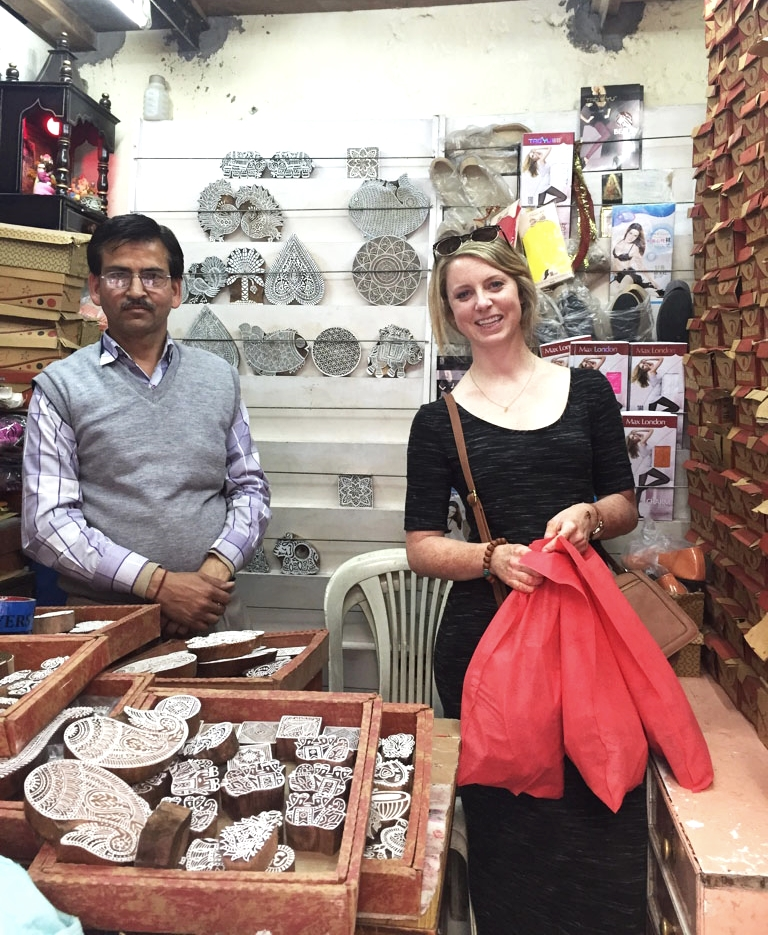 "Me and ""my woodblock guy"", Girish in his shop in Khan Market, New Delhi."