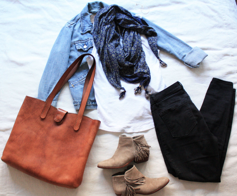 scarf  //  leather tote