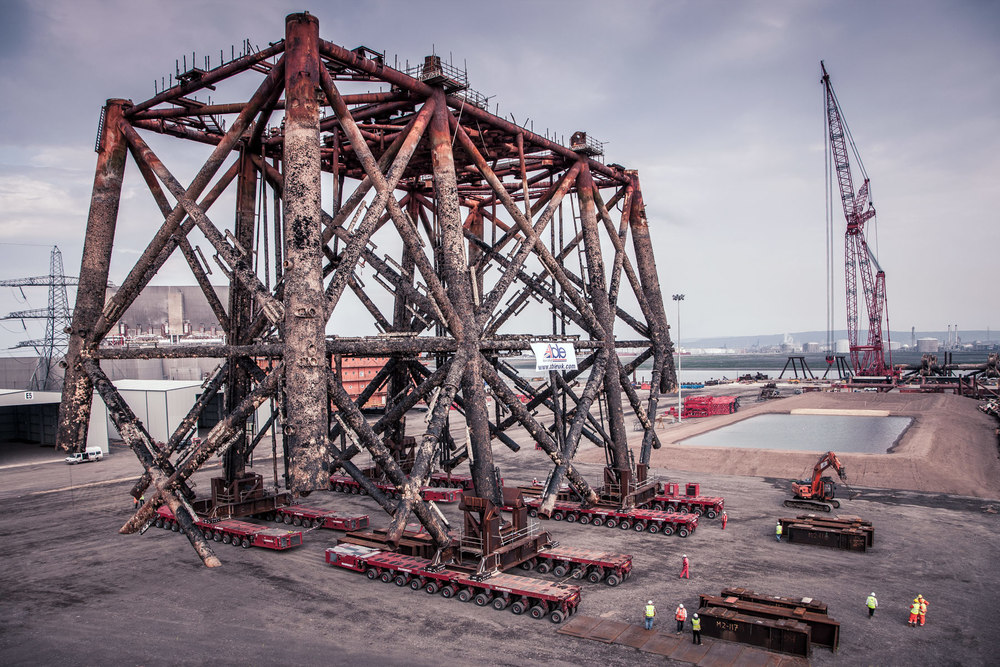 Offshore decommissioning photography.