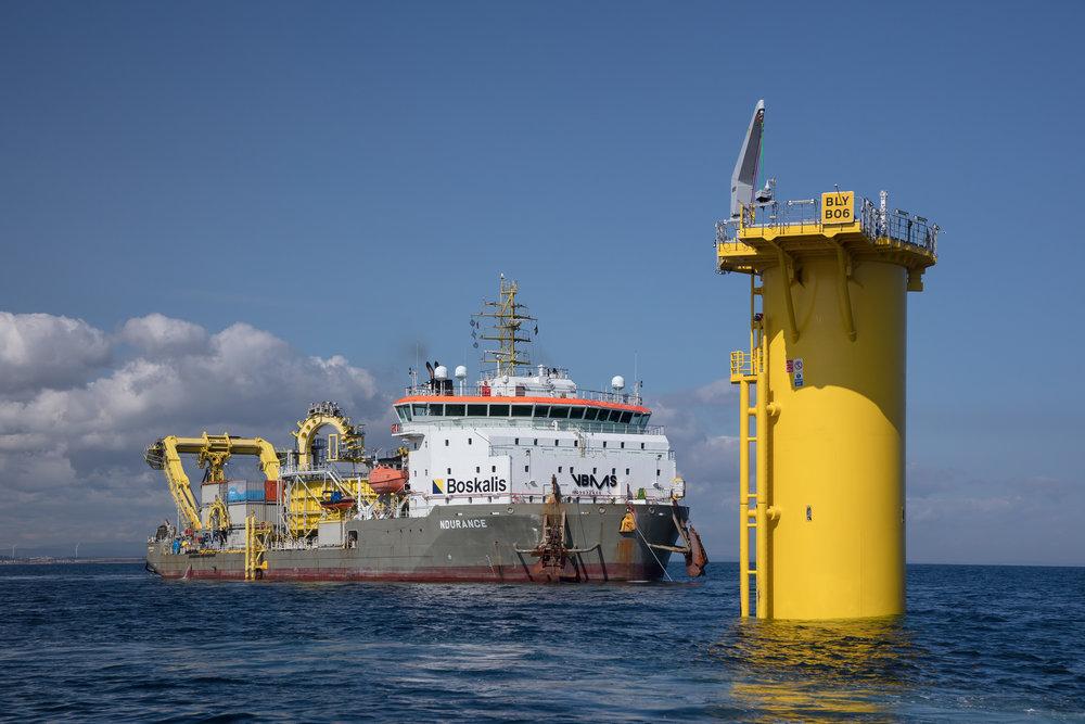 Wind farm offshore construction.