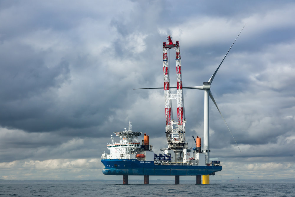 Jack up vessel Vole au Vent working on the EDF Energies Nouvelle Blyth Offshore Demonstrator Wind Project, UK North Sea.