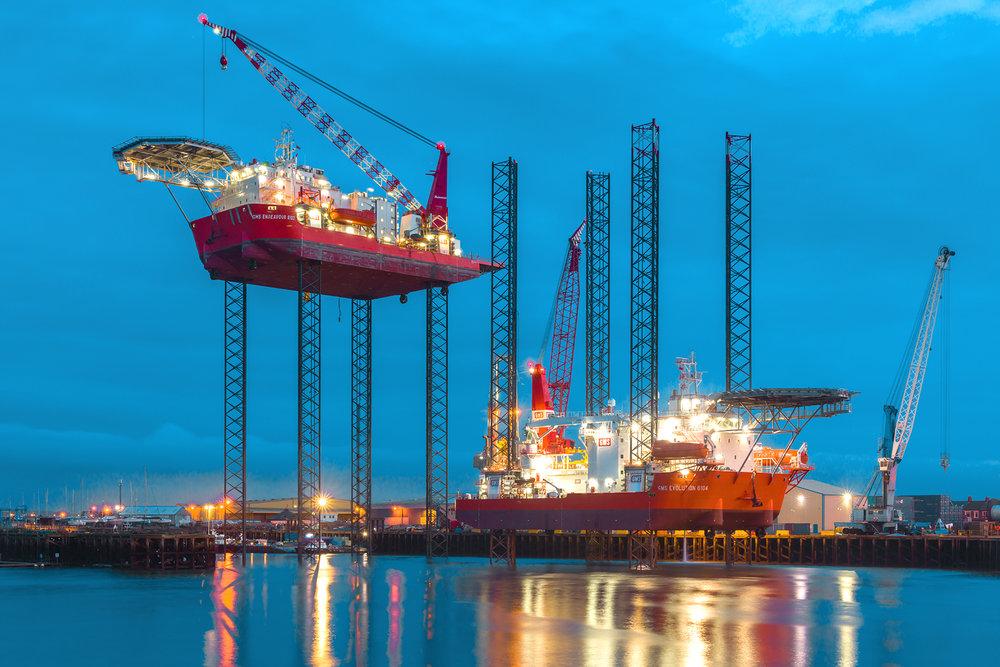 GMS Endeavour & Evolution Jack Up Barge offshore.