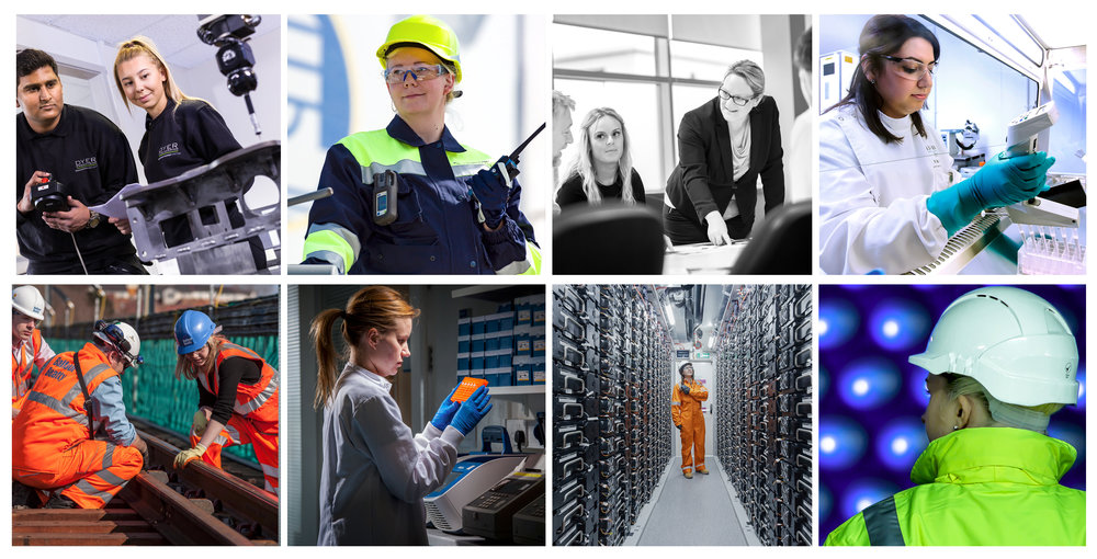 Industrial photography of women in the workplace.