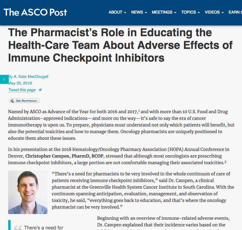 "The ASCO Post   ""The Pharmacist's Role in Educating the Health-Care Team About Adverse Effects of Immune Checkpoint Inhibitors"""