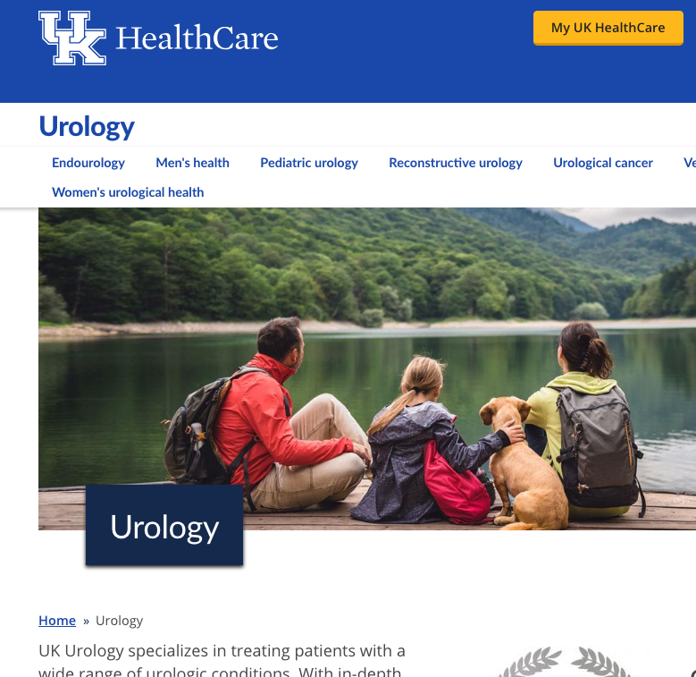 UK HealthCare Urology  Landing Page and Subpages Text