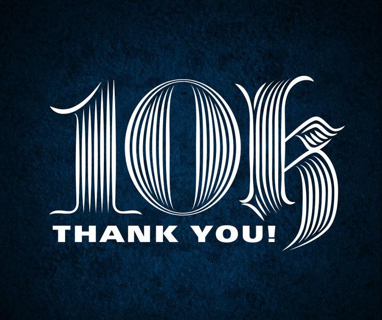 10k thanks ray mawst lettering design