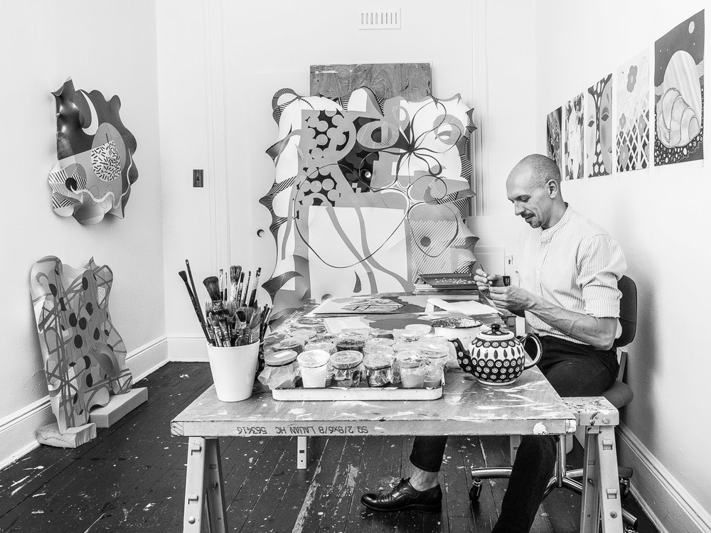 Artist Eric Hibit Painting in his Art Studio in Ridgewood Queens Neesh NYC