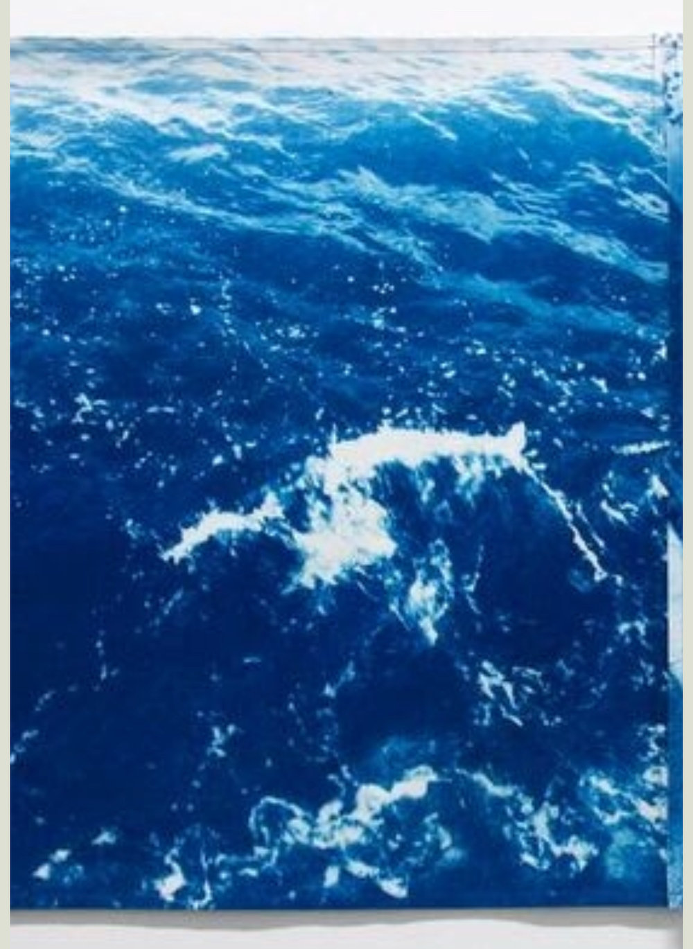 "Katarina Jerinic ""Stop carrying out your intentions and watch for my signals"" (detail of 27ft cyanotype)"