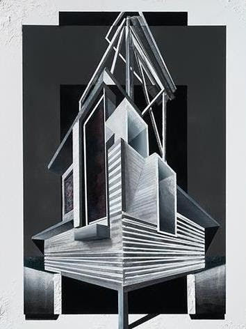 "Amir Hariri,  Facade StudyII , 2017, Oil and acrylic on board, 20"" x 16"""