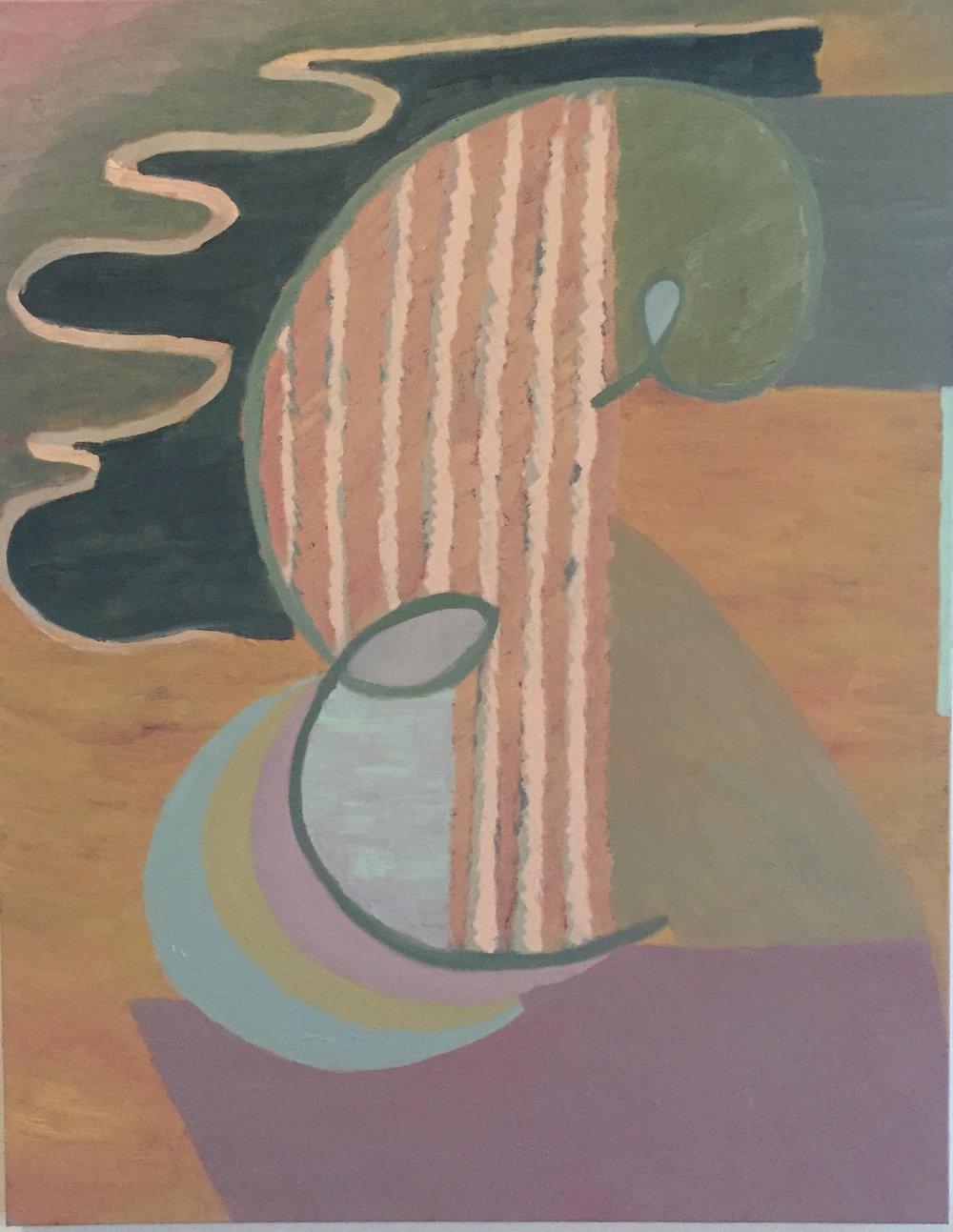 "Liz Ainslie,  As It Always (Purple) , 2016 Oil on canvas, 28"" x 22"""
