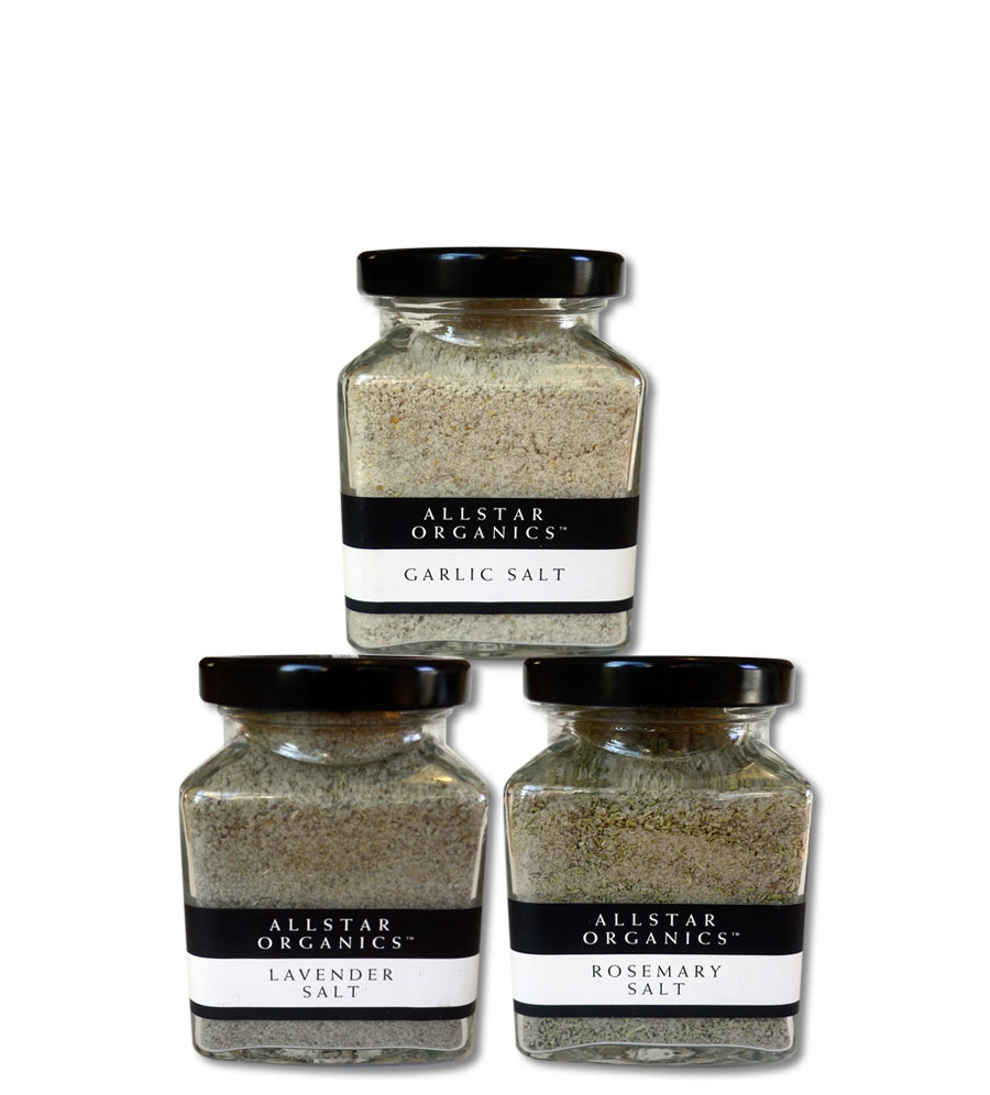 These salts from Allstar Organics make creating a gourmet meal as easy as two shakes. Grown on a small farm in Lagunitas, California the aromatic herbs are the best seasoning salts I've ever tried. We buy them right at our Sunday farmer's market.
