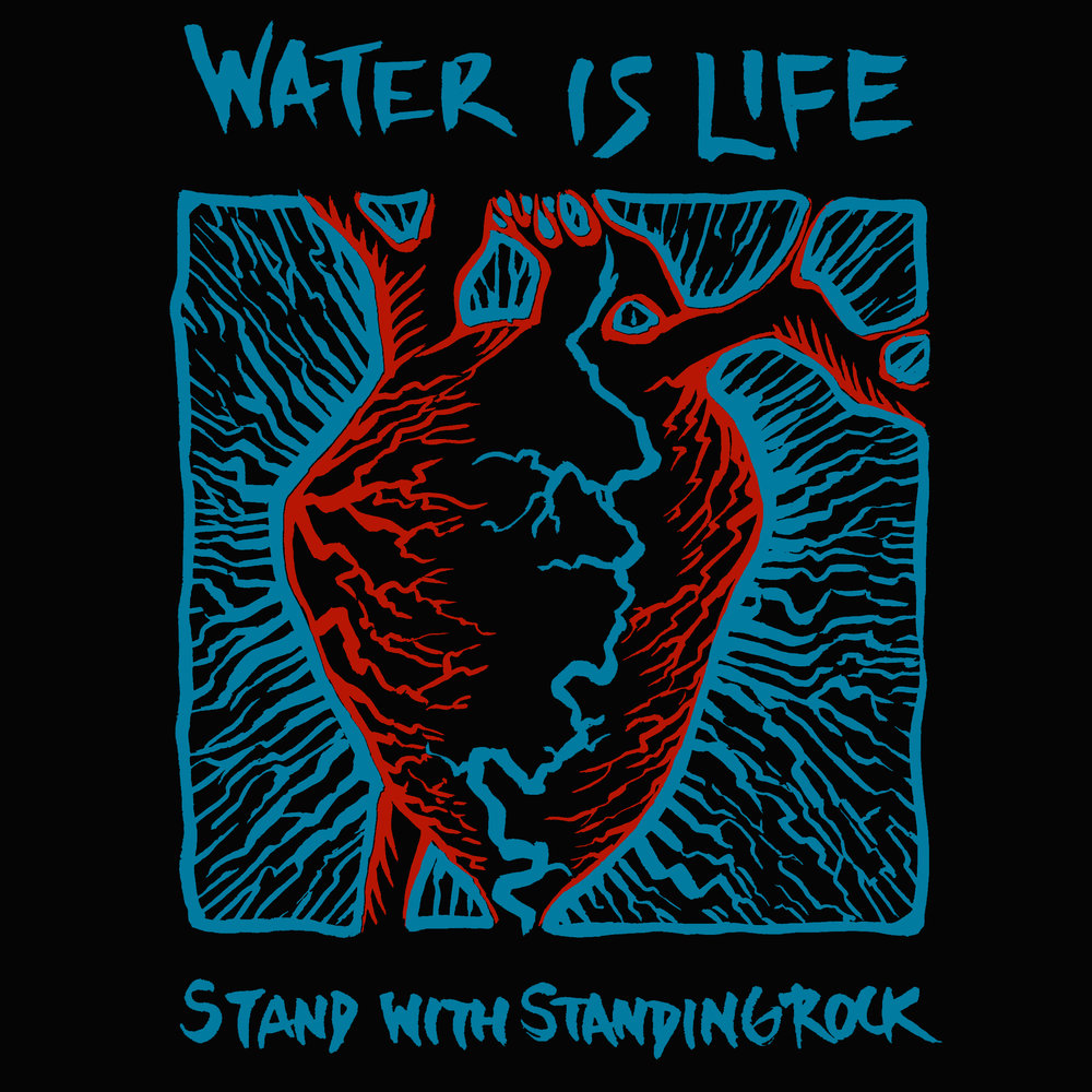 Design used to raise funds to support the winter camp at Standing Rock. 100% of t-shirt sales were donated to purchase winterized tents and other winter camp needs during the water protection actions against the Dakota Access Pipeline.